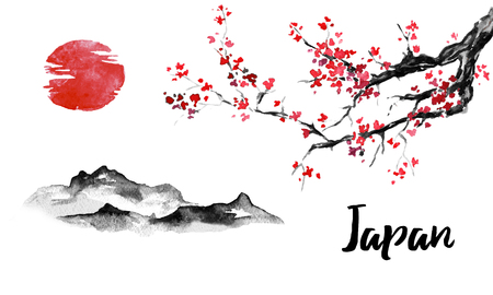 Japan traditional sumi-e painting. Sakura, cherry blossom. Mountain and sunset. Indian ink illustration. Japanese picture. Standard-Bild - 117924815