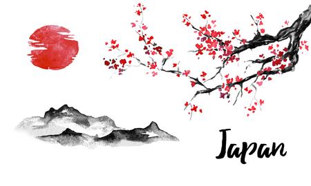 Pintura sumi-e tradicional de Japón. Sakura, flor de cerezo. Montaña y puesta de sol. Ilustración de tinta china. Cuadro japonés.