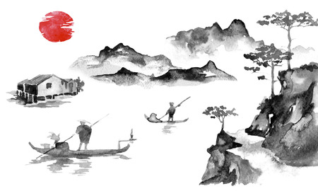 Japan traditional sumi-e painting. Indian ink illustration. Man and boat. Sunset, dusk. Japanese picture. Banco de Imagens - 117924817