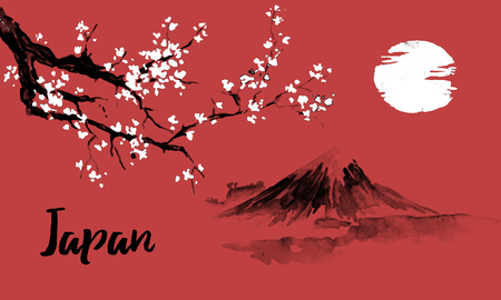 Japan traditional sumi-e painting. Sakura, cherry blossom. Fuji mountain. Indian ink illustration. Japanese picture. 写真素材 - 117924822