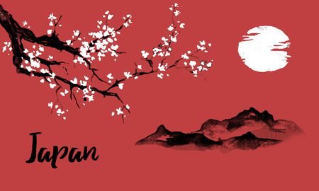 Japan traditional sumi-e painting. Sakura, cherry blossom. Mountain and sunset. Indian ink illustration. Japanese picture.