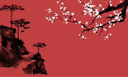 Japan traditional sumi-e painting. Indian ink illustration. Japanese picture. Sakura and mountains 写真素材 - 117924844