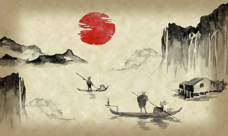 Japan traditional sumi-e painting. Indian ink illustration. Japanese picture. Man, boat, mountains Stock Photo