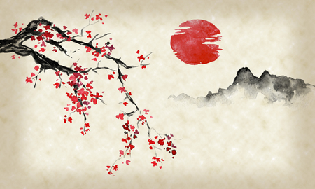 Japan traditional sumi-e painting. Indian ink illustration. Japanese picture. Sakura, sun and mountain 写真素材 - 117924847