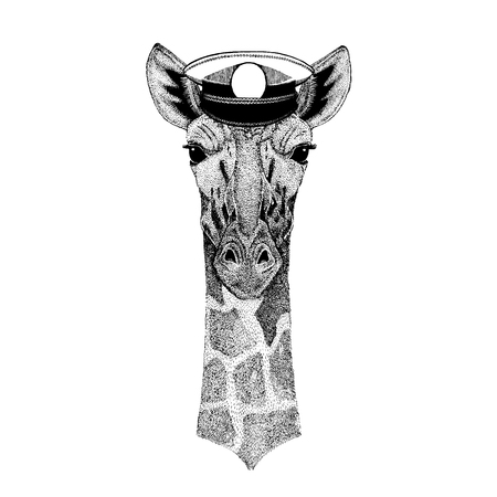 giraffe Hand drawn image for tattoo, emblem, badge, patch, t-shirt