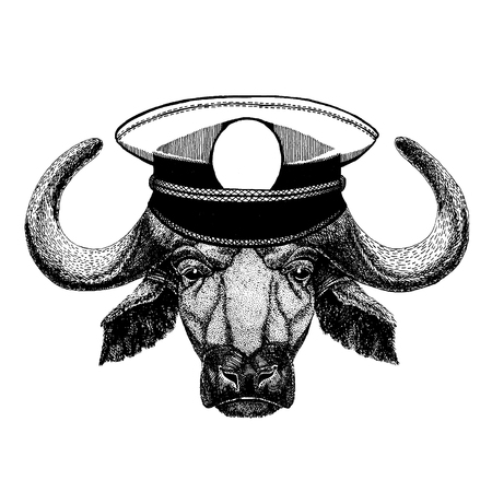 Buffalo, bull, ox Hand drawn illustration for tattoo, emblem, badge, patch, t-shirt