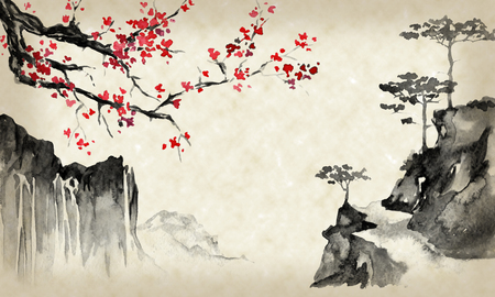 Japan traditional sumi-e painting. Indian ink illustration. Japanese picture. Sakura and mountains Standard-Bild - 117924929
