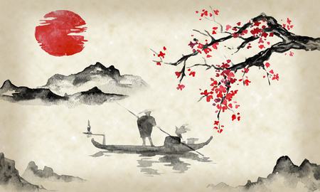 Japan traditional sumi-e painting. Indian ink illustration. Man and boat. Mountain landscape with sakura. Sunset, dusk. Japanese picture. Banque d'images