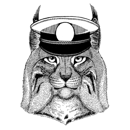 Wild cat Lynx  Trot Hand drawn image for tattoo, emblem, badge, patch Archivio Fotografico - 117924938
