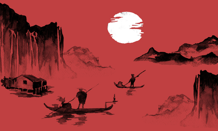 Japan traditional sumi-e painting. Indian ink illustration. Japanese picture. Man, boat, mountains Imagens