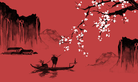 Japan traditional sumi-e painting. Indian ink illustration. Japanese picture. Man, boat, sakura, mountains