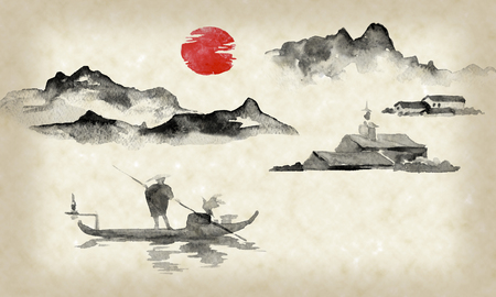 Japan traditional sumi-e painting. Indian ink illustration. Man and boat. Mountain landscape. Sunset, dusk. Japanese picture. Imagens - 117924942