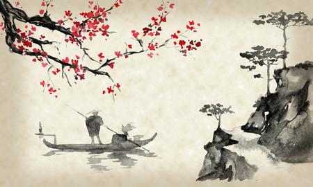 Japan traditionele sumi-e schilderij. Oost-Indische inkt illustratie. Mens en boot. Zonsondergang, schemer. Japanse foto.