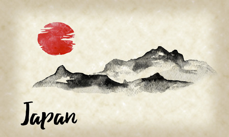 Japan traditional sumi-e painting. Indian ink illustration. Hills and mountains. Japanese picture. Imagens