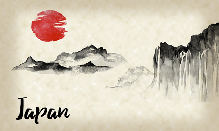 Japan traditional sumi-e painting. Indian ink illustration. Hills and mountains. Japanese picture. Stock Photo