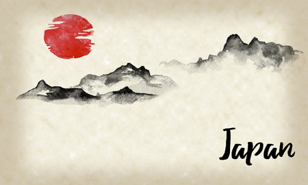 Japan traditional sumi-e painting. Indian ink illustration. Hills and mountains. Japanese picture. Stok Fotoğraf