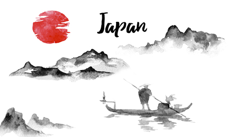 Japan traditional sumi-e painting. Indian ink illustration. Japanese picture. Man and boat. Mountain landscape Stock Photo