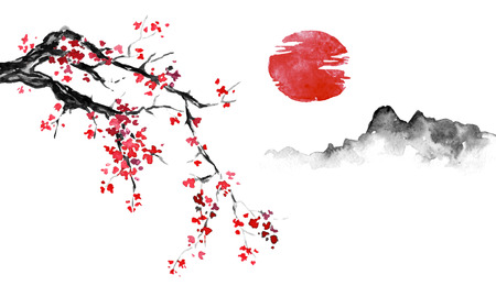 Japan traditional sumi-e painting. Indian ink illustration. Japanese picture. Sakura, sun and mountain Foto de archivo - 117924970