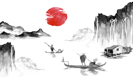Japan traditional sumi-e painting. Indian ink illustration. Japanese picture. Man, boat, mountains 스톡 콘텐츠