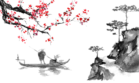 Japan traditional sumi-e painting. Indian ink illustration. Man and boat. Sunset, dusk. Japanese picture.