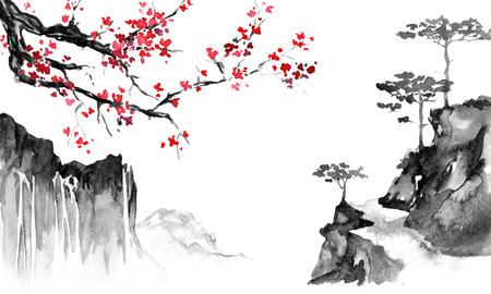Japan traditional sumi-e painting. Indian ink illustration. Japanese picture. Sakura and mountains