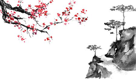 Japan traditionele sumi-e schilderij. Oost-Indische inkt illustratie. Japanse foto. Sakura en bergen Stockfoto