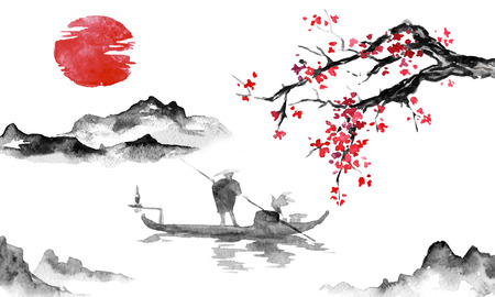 Japan traditional sumi-e painting. Indian ink illustration. Man and boat. Mountain landscape with sakura. Sunset, dusk. Japanese picture. Stockfoto