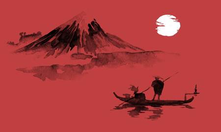 Japan traditional sumi-e painting. Indian ink illustration. Man and boat. Mountain landscape. Sunset, dusk. Japanese picture.