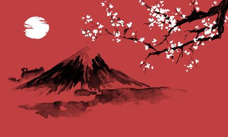 Japan traditional sumi-e painting. Fuji mountain, sakura, sunset. Japan sun. Indian ink illustration. Japanese picture. Stock Illustration - 117925005
