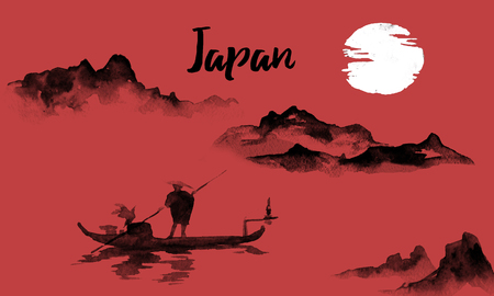 Japan traditional sumi-e painting. Indian ink illustration. Japanese picture. Man and boat. Mountain landscape Imagens