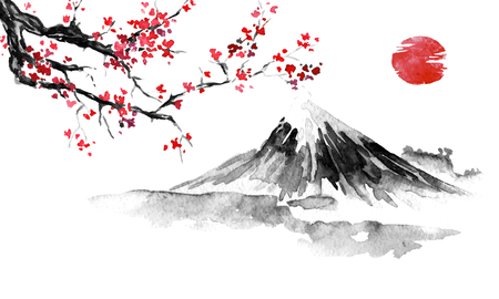 Japan traditional sumi-e painting. Fuji mountain, sakura, sunset. Japan sun. Indian ink illustration. Japanese picture. Stock Illustration - 117925003