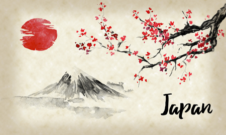 Japan traditional sumi-e painting. Sakura, cherry blossom. Fuji mountain. Indian ink illustration. Japanese picture.