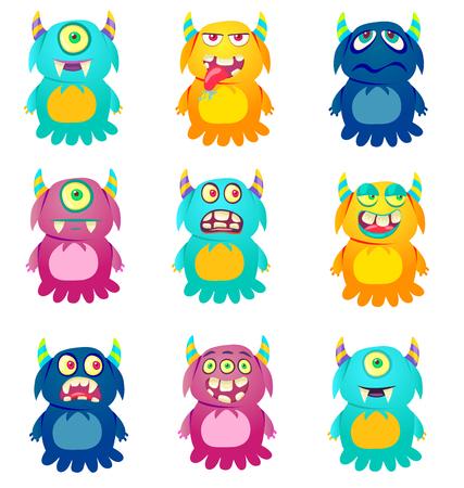 Cute Monsters. Cartoon aliens from space for kindergarten children. Banque d'images - 118917920