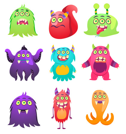 Cute Monsters. Cartoon aliens from space for kindergarten children. Banque d'images - 118917964