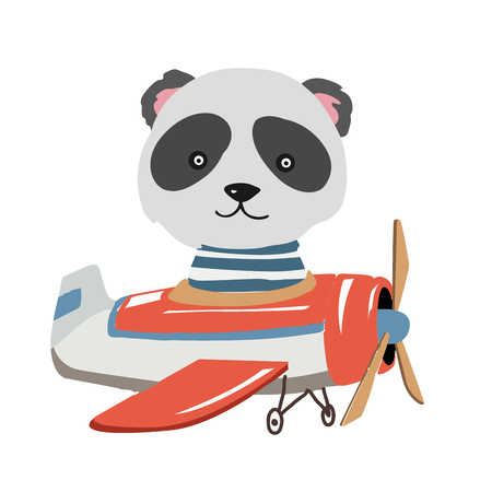 Cartoon animal fly on a airplane. Image for children clothes, postcards