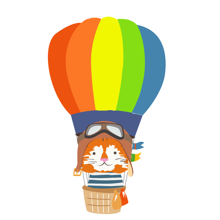 Cartoon animal fly in hot air balloon. Image for children clothes, postcards
