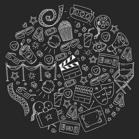 Modèle de cinéma avec des icônes vectorielles pour le papier d'emballage, des affiches
