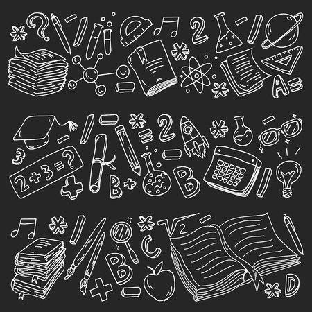 School, college, university, kindergarten pattern with vector elements and icons