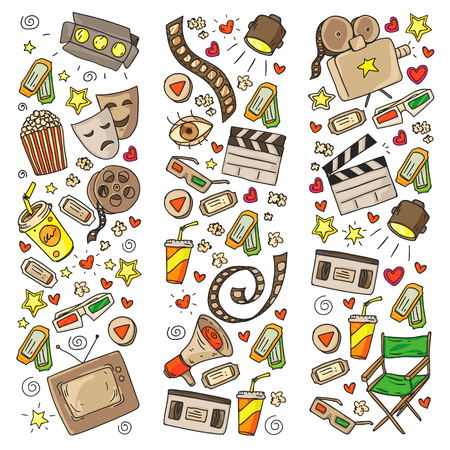 Cinema pattern with vector icons for wrapping paper, posters Banque d'images - 118396091