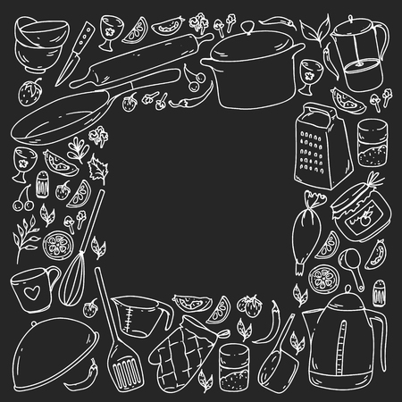 Cooking class. Kitchenware, utencils Food and kitchen icons Standard-Bild - 124679059