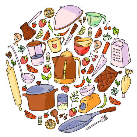 Cooking class. Kitchenware, utencils Food and kitchen icons Vecteurs