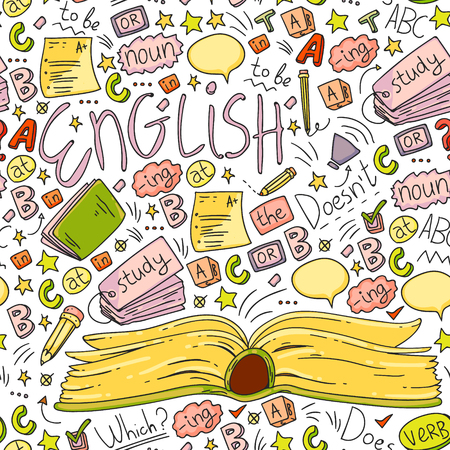 Language school for adult, kids. English courses class Vektoros illusztráció