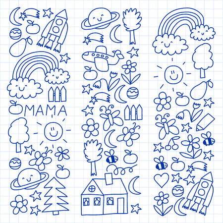 Children drawing. Colorful vector pattern with toys, space, planets