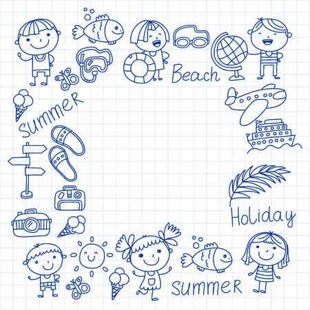 Vector pattern with children icons. Summer vacation at seashore, sea, ocean, beach. Small kids having fun