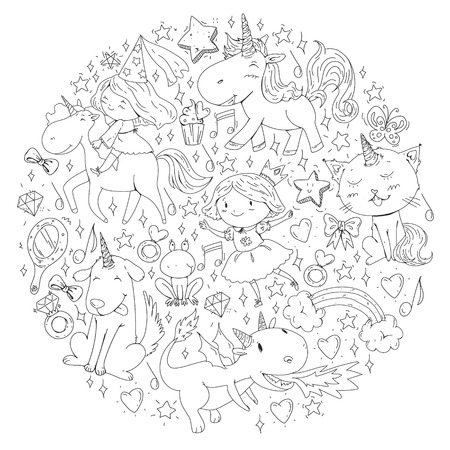 Fairy princess and magical unicorns. Vector pattern with magic cats, horses, dogs