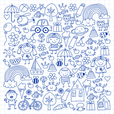 Kindergarten pattern with cute children and toys. Kids drawing style illustration. Stock Vector - 124544714