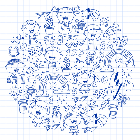 Vector pattern with kindergarten, school children. Happy children illustration Stock Vector - 124544718