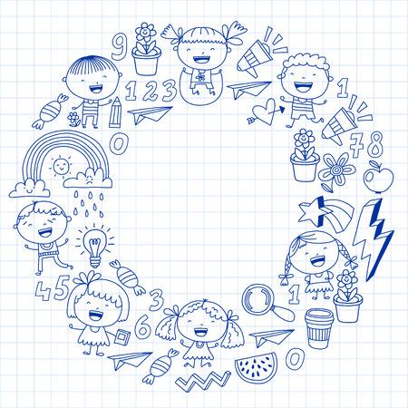 Vector pattern with kindergarten, school children. Happy children illustration Stock Vector - 124544719