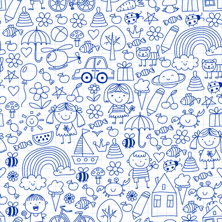 Kindergarten pattern with cute children and toys. Kids drawing style illustration. Illustration