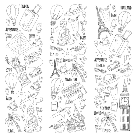 Vector pattern with travel icons. Great vacation, holidays. Hot air balloon, suitcase. Adventures and travel Ilustrace